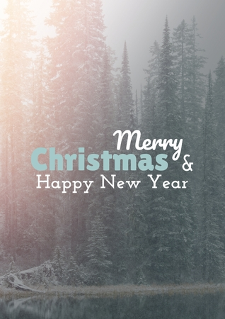 Digital composite of Unamerry Christmas and happy new year text on snow backgroundtitled 1