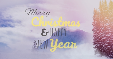 Digital composite of merry Christmas and happy new year text on snow background Stock Photo