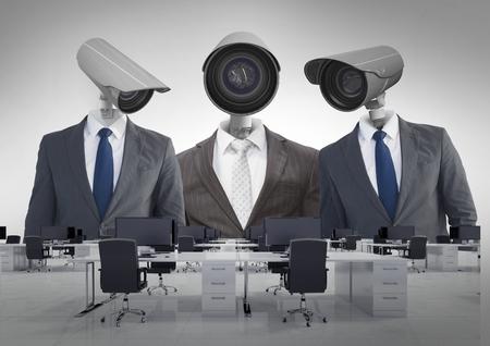 Digital composite of Businessmen with CCTV head at office Reklamní fotografie