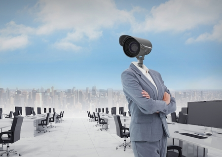 Digital composite of Businesswoman with CCTV head in office above city skyline Stock Photo