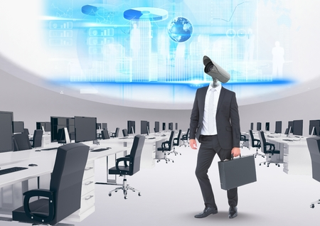 Digital composite of Businessman with CCTV head with interface