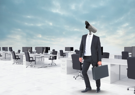 Digital composite of Businessman with CCTV head at office in clouds