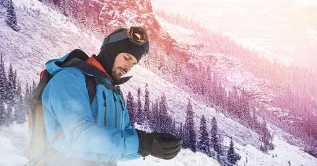 Digital composite of Man standingon slope Stock Photo