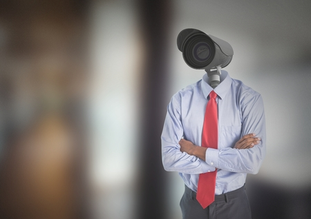 Digital composite of Businessman with CCTV head at office Imagens