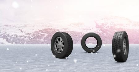 Digitale samenstelling van Banden in het landschap van de de Wintersneeuw