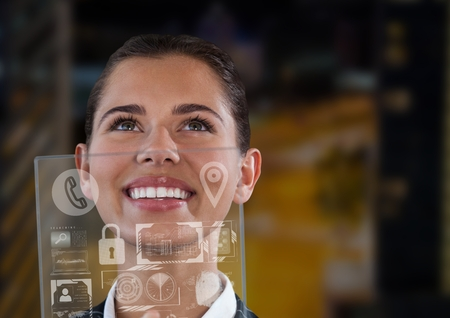 ink well: Digital composite of woman holding glass interface