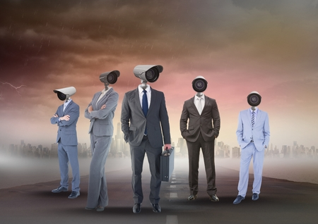 Digital composite of Business people with CCTV head on street