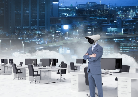 Digital composite of Businessman with CCTV head at office with city skyline