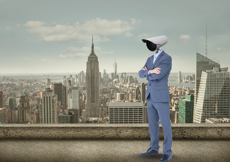 Digital composite of Businessman with CCTV head with city skyline