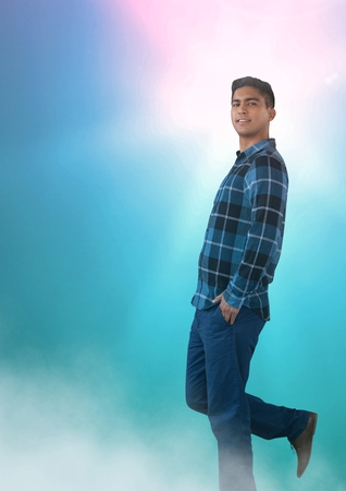 checked: Digital composite of Man posing in colorful light