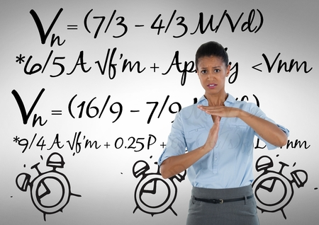 Digital composite of frustrated woman with math background