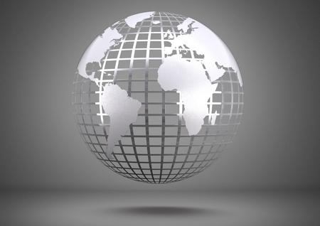 회색 배경에 떠있는 세계 글로브의 디지털 합성물