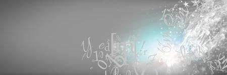 灰色の背景に飛んで文字のデジタル合成 写真素材
