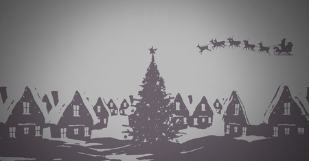 Digital composite of grey background with Winter Christmas warm clothes and Christmas illustrations