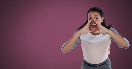 Digital composite of Businesswoman shouting with crimson background Stock Photo
