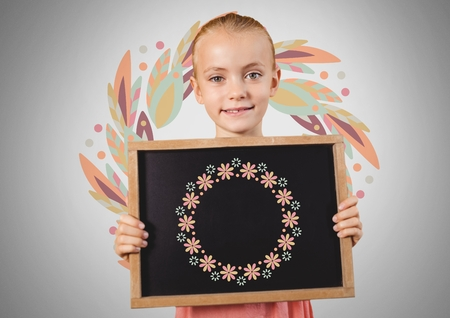 Digital composite of Girl against grey background with blackboard and flower pattern