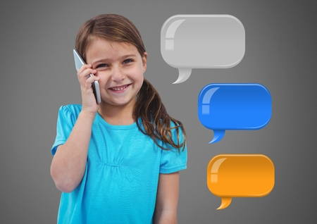 Digital composite of Girl against grey background with phone and chat bubbles