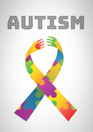 Digital composite of autism and colorful hope hands ribbon 스톡 콘텐츠