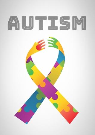 Digital composite of autism and colorful hope hands ribbon Standard-Bild