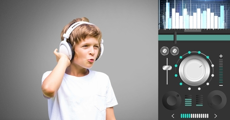 Digital composite of Boy against grey background with headphones and music controller settings