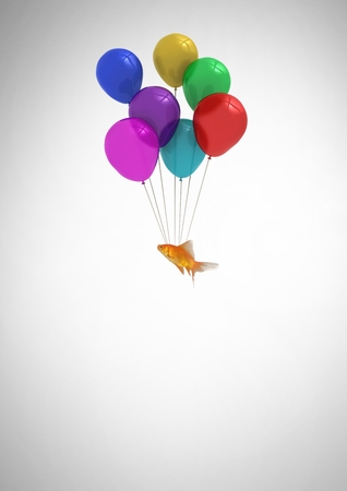 floating: Digital composite of fish floating tied to balloons Stock Photo