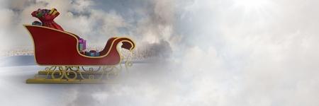 Digital composite of Cloudy sky transition of Santas sleigh Stock Photo