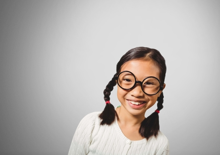 braided: Digital composite of Girl against grey background with glasses
