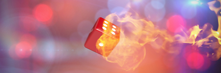 Computer graphic image of 3D dice against fire