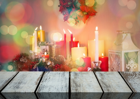 apartment bell: Digital composite of Wooden floor with Christmas theme background
