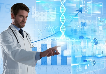 Digital composite of Medical science interface and Doctor touching air in front of bar charts Stock Photo