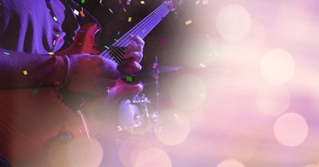 Digital composite of guitar at concert with transition Stock Photo