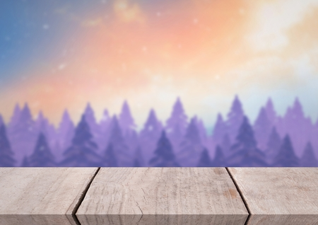 Digital composite of Wooden floor with Winter theme background