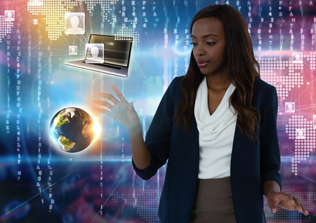 Digital composite of World and device contacts interface and Businesswoman touching air in front of virtual number codes