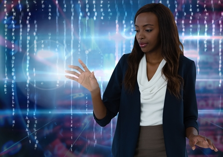 Digital composite of Businesswoman touching air in front of virtual number codes