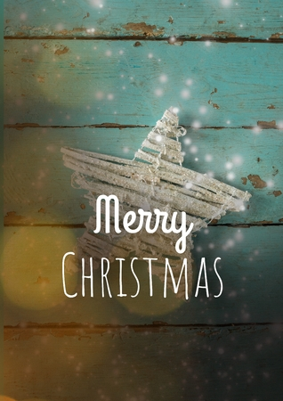 Digital composite of merry Christmas text on Christmas background with snow