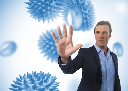 Digital composite of Businessman touching air with open hand in front of science micro organisms