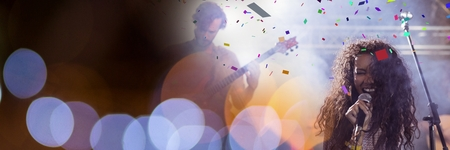 Digital composite of people playing at concert with transition Stock Photo