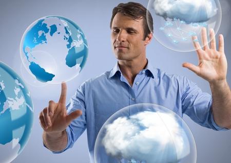 クラウド世界泡とビジネスマンの目が付いている空気に触れるデジタル合成終了前に windows の 写真素材