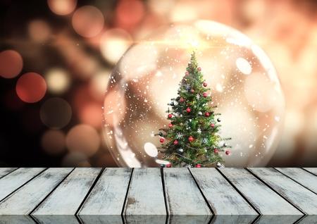 クリスマス テーマの背景の木の床のデジタル合成