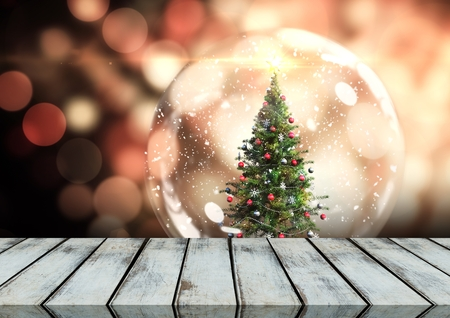 크리스마스 테마 배경으로 나무 바닥의 디지털 합성 스톡 콘텐츠