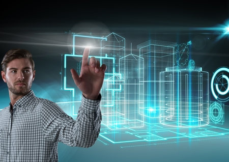 Digital composite of Businessman touching air in front of 3D building interfaces