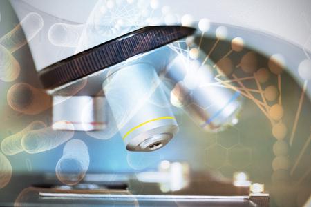 研究室の顕微鏡に対する DNA のデジタル合成画像をクローズ アップ