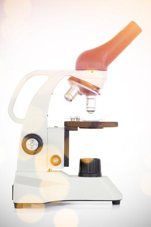 Microscope on white background Stock Photo
