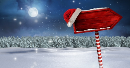 night out: Digital composite of Wooden signpost in Christmas Winter landscape and Santa hat Stock Photo
