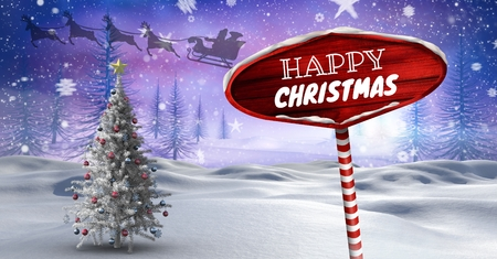 Digital composite of Happy Christmas text and Wooden signpost in Christmas Winter landscape and Santas sleigh and reinde