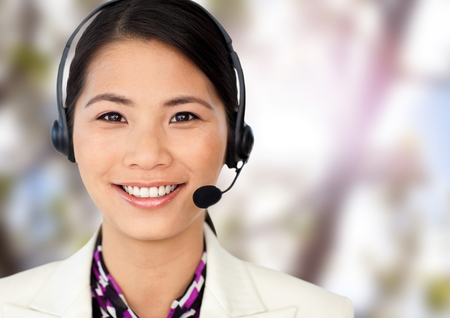 Digital composite of Customer service womans face in nature