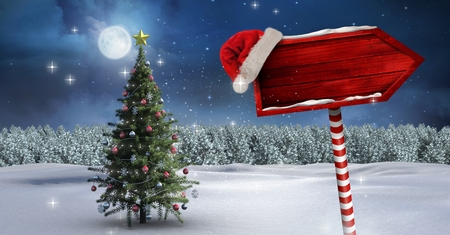 night out: Digital composite of Wooden signpost in Christmas Winter landscape and Santa hat with Christmas tree