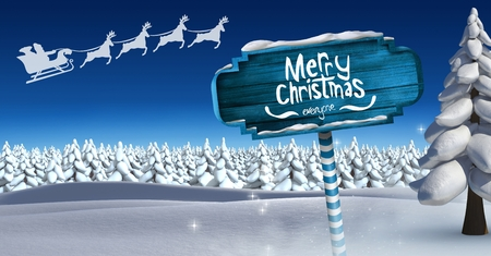 Digital composite of Merry Christmas and Wooden signpost in Christmas Winter landscape and Santas sleigh and reindeers