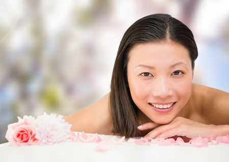 Digital composite of Spa woman in nature Stock Photo