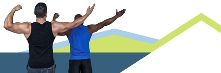 Digital composite of Fitness trainer men with minimal shapes Stock Photo
